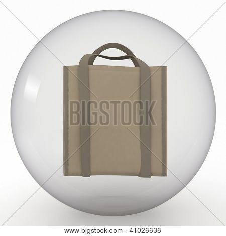 shoppingbag in transparent sphere  on white background