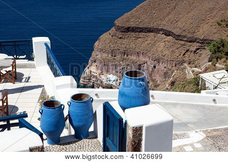 Blue Greek Urn's, Santorini, Greece.