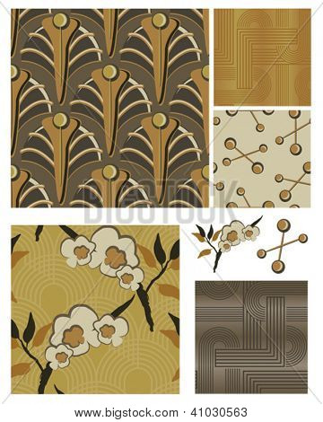 Art Deco Inspired Floral Seamless Patterns and Icons. Use as fills, digital paper, or print off onto fabric to create unique items.