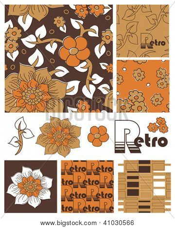 1970's Retro Vector Seamless Floral Patterns and Icons. Use as fills, digital paper, or print off onto fabric to create unique 70's items.