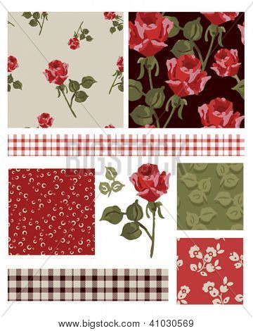 1940's Inspired Vector Seamless Rose Patterns and Icons. Use as fills, digital paper, or print off onto fabric to create unique items.