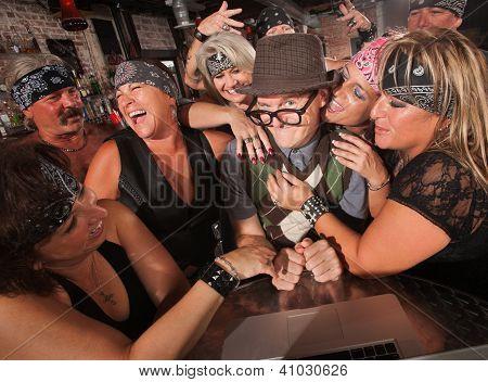 Happy Nerd With Biker Gang Ladies