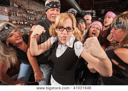 Brave Female Nerd With Biker Gang