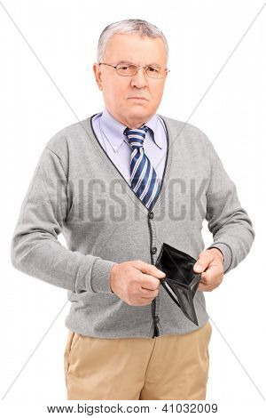 Senior man holding an empty wallet isolated on white background