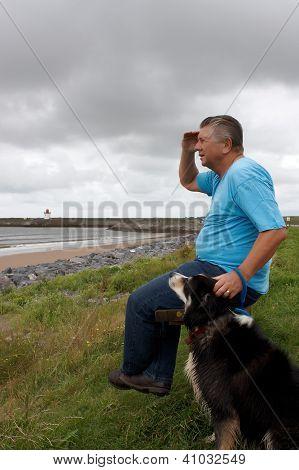 Mature Man  And His Dog