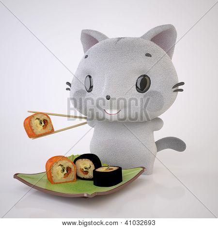 Kitten And Sushi