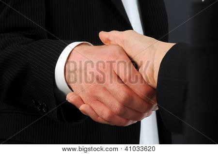 closeup angled image of male and female executives shake hands on deal