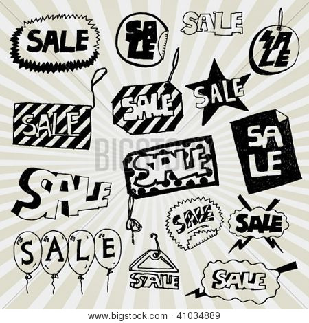Set of Sale Banners Hand Drawn