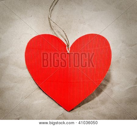 heart on the background of kraft paper