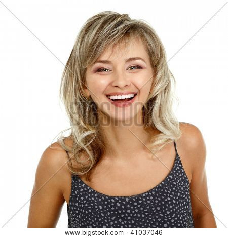 happy smiling woman portrait mid adult, attractive caucasian middle 40 years old woman over white