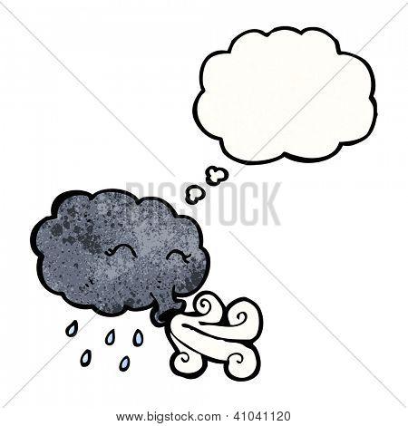 cartoon raincloud blowing wind