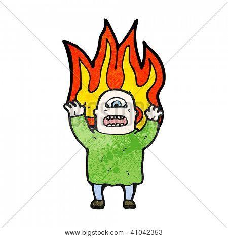 ogro de dibujos animados de fuego