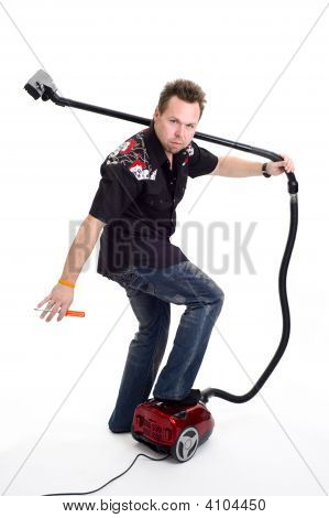 Man With Vaccum Cleaner