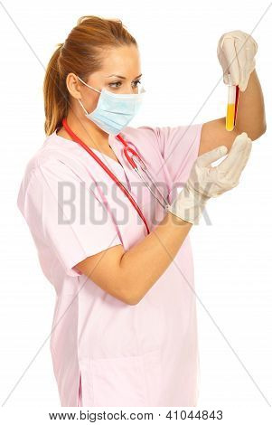 Laboratory Woman Holding Tubes