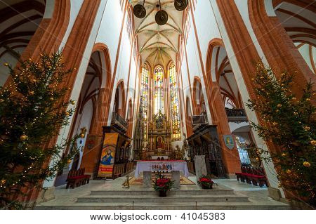 WROCLAW, POLAND - DECEMBER 31: St. Elisabeth Church interior on December 29, 2012 in Wroclaw, Poland. The St. Elisabeth Church is one of the oldest and biggest temples in Wroclaw.