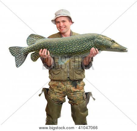 The fisherman with big fish (The Northern Pike - Esox lucius). Success concept.