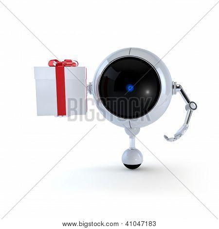Roboter halten Geschenk