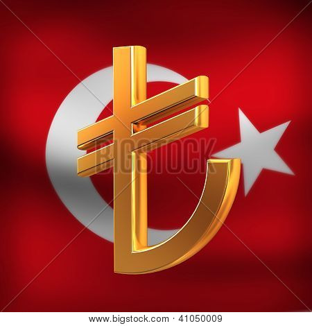 Turkish Lyra On Flag Background