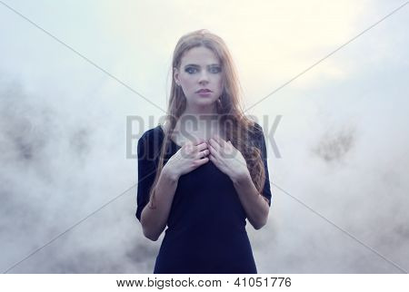 Sensual Beautiful Girl In White Smoke