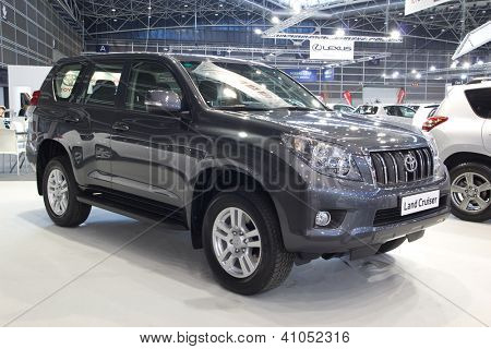 VALENCIA, SPAIN - DECEMBER 7 - A 2012 Toyota Land Cruiser at the Valencia Car Show on December 7, 2012 in Valencia, Spain.