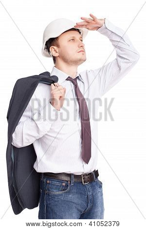 Young Engineer Looking Far Away Holds Jacket Behind Shoulder Isolated On White Background