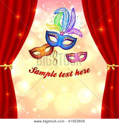 Carnival poster template with masks and curtain