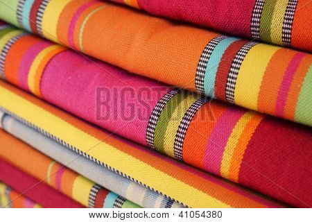 Brightly Colored Textiles In The Market