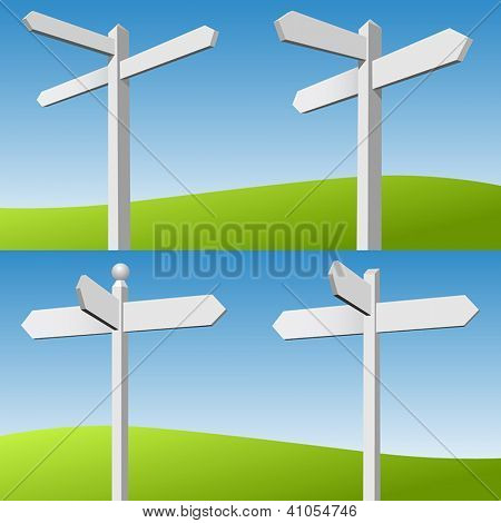 Four Blank White Sign Posts