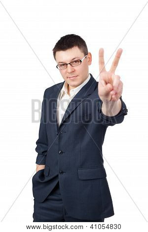 Portrait Of Young Business Man Showing Victory Sign Isolated On White Background