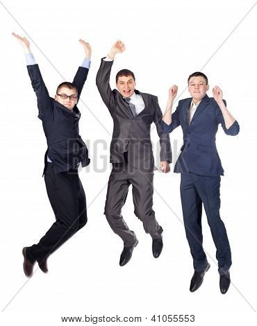 Three Young  Business Men Jumping