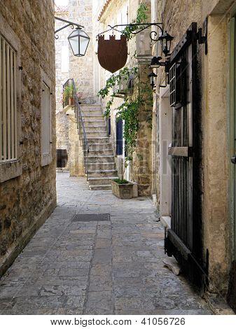 Old town passageway in Budva