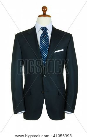 Male clothinh suit on stand isolated white