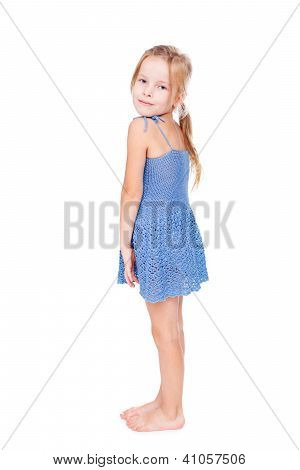 Shy Pretty Little Girl In Blue Dress