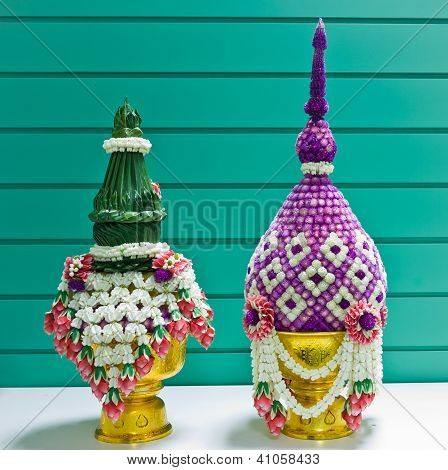 Flower Decorated On Tray With Pedestal