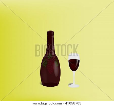 Bottle And Full Beaker Of Red Wine