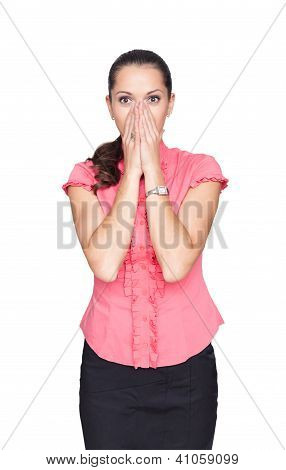 Beautiful Young Business Woman Cover Her Face With Hands Isolated On White Background
