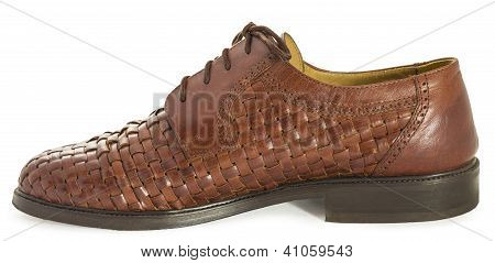 Brown Leather Shoe Isolated On White