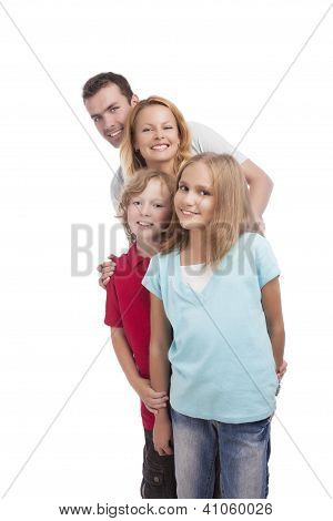 Happy Family Standing In A Queu. Vertical Shoot