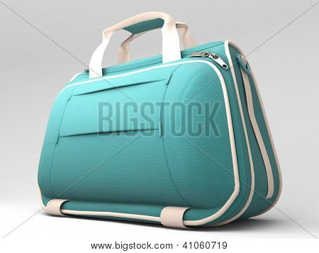 Turquoise sports bag on a light background with shadow