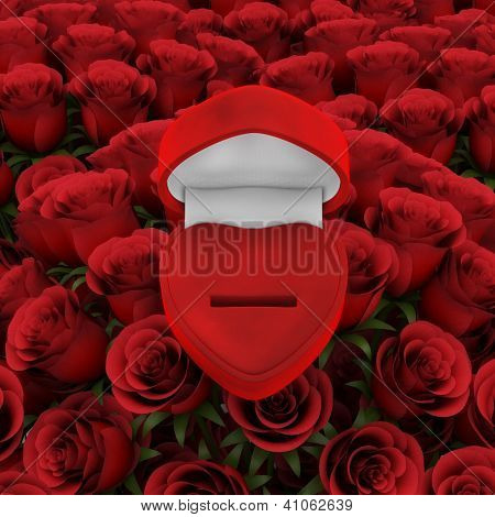 Red ring box with bouquet of roses