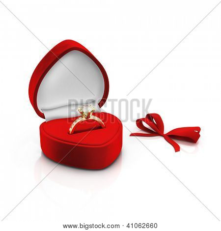 Isolated red ring box with bow on white background