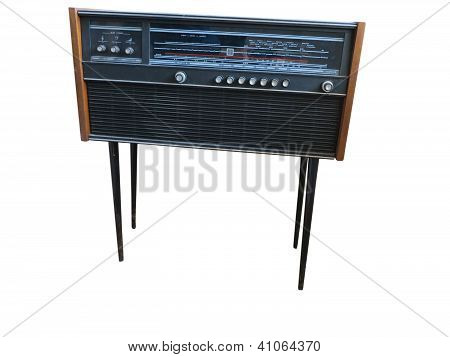 Old Retro Styled Radio Isolated On White