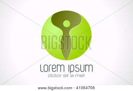 SPA Health beauty logo template. Abstract woman character. Green Sphere Vector.
