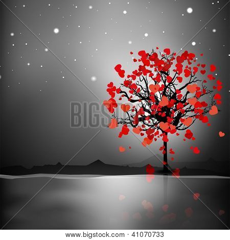Valentine's Day love card or greeting card with love tree on night background. EPS 10.
