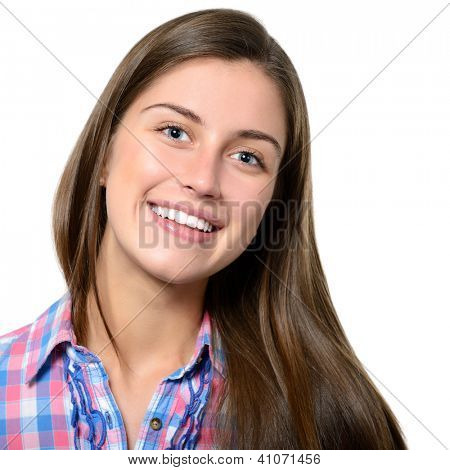 portrait of attractive teenager girl smiling in cheerful mood, over white