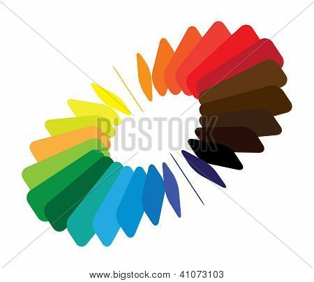 Blocks Forming A Color(colour) Wheel/fan With Smooth Rounded Blades And Brilliant, Bright And Vivid