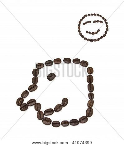 Smile Shaped Coffee Beans Isolated On White Background.the Concept Is That A Good Cup Of Coffee.