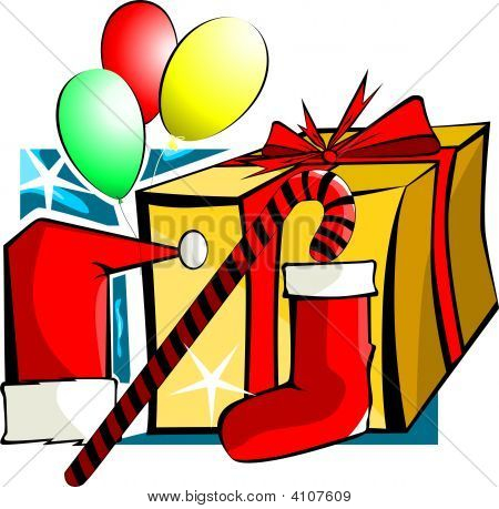 Gift Box And Balloons