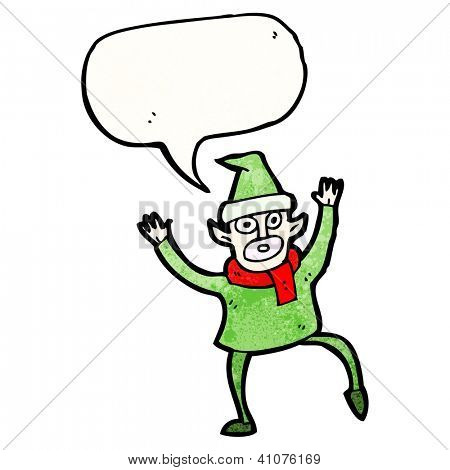 cartoon christmas elf frantically waving