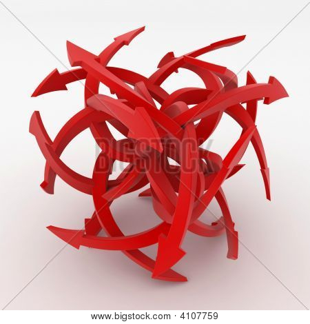 Red 3D Arrow Cube, Isolated